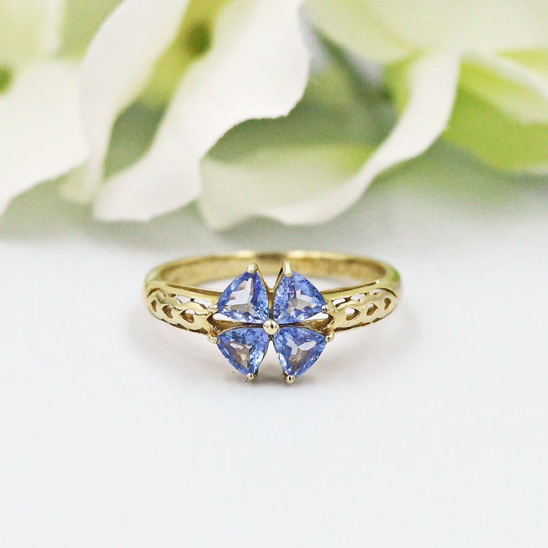 14k YG CHUCK CLEMENCY Open Band 4 leaf Clover Tanzanite Ring Size 7