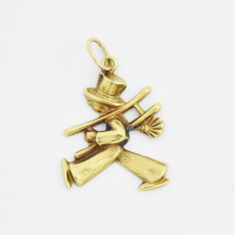 14k Yellow Gold Estate Textured Chimney Sweep Pendant/Charm