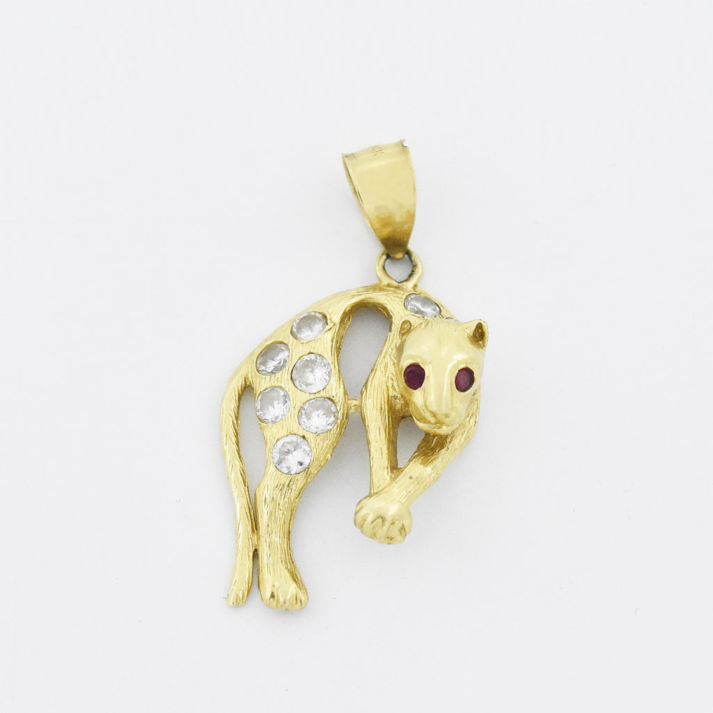 14k Yellow Gold Estate Textured CZ & Ruby Dangle/Drop Panther Pendant