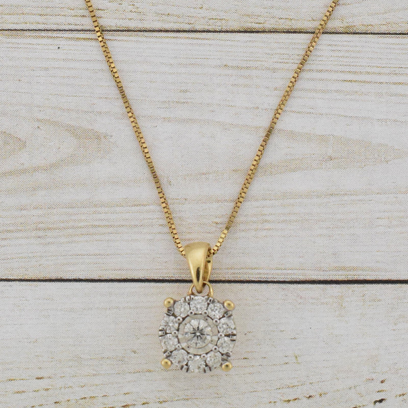 "14k Yellow Gold Estate 18"" Box Link Diamond .16 tcw Pendant Necklace"