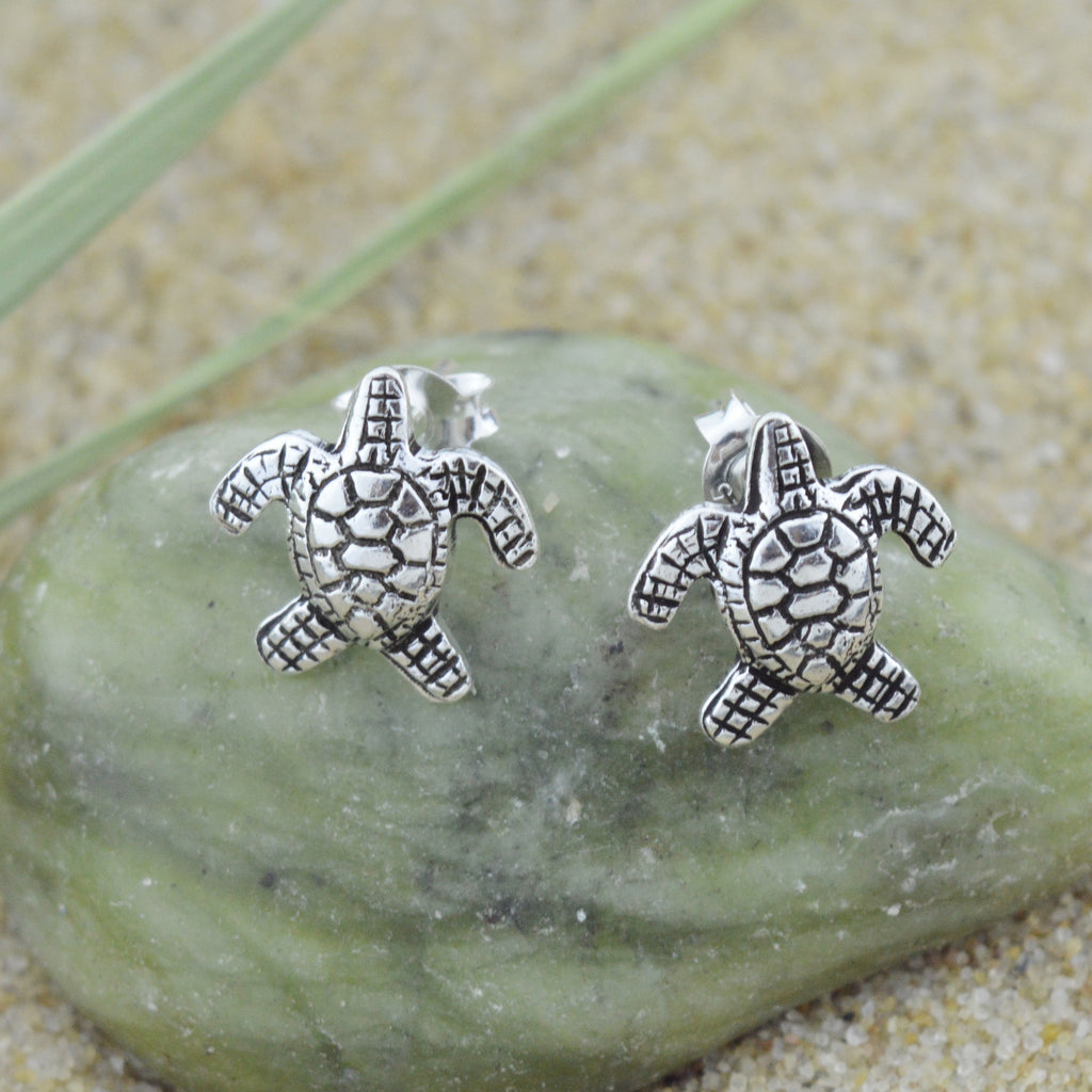 NEW Sterling Silver 925 Sea Turtle Stud Earrings