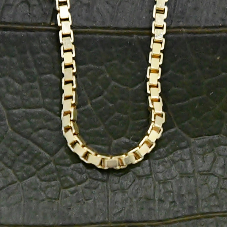 "14k Yellow Gold Estate Box Link Chain/Necklace 24"" Long"