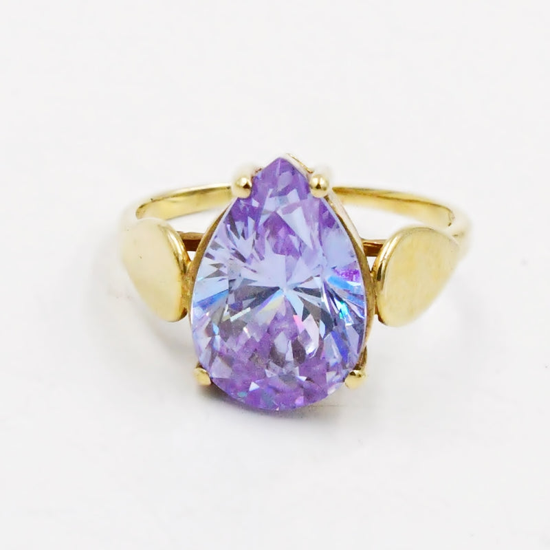 10k Yellow Gold Estate Pear Shaped Lavender Gemstone Ring Size 4.75