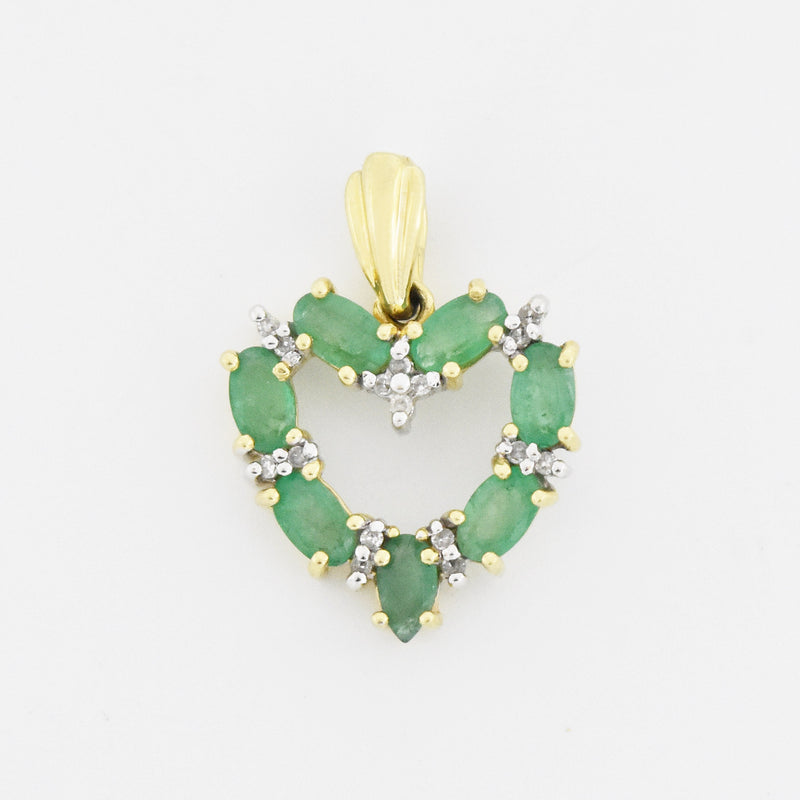 14k Yellow Gold Estate Emerald & Diamond Open Heart Pendant