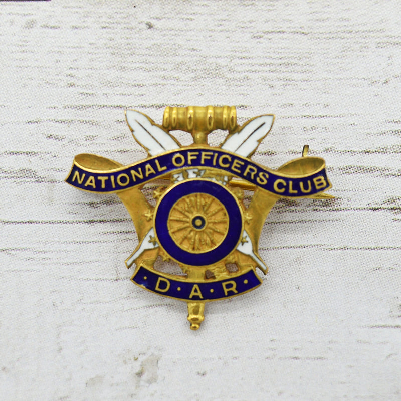 Gold Filled Antique Enamel DAR National Officers Club #808