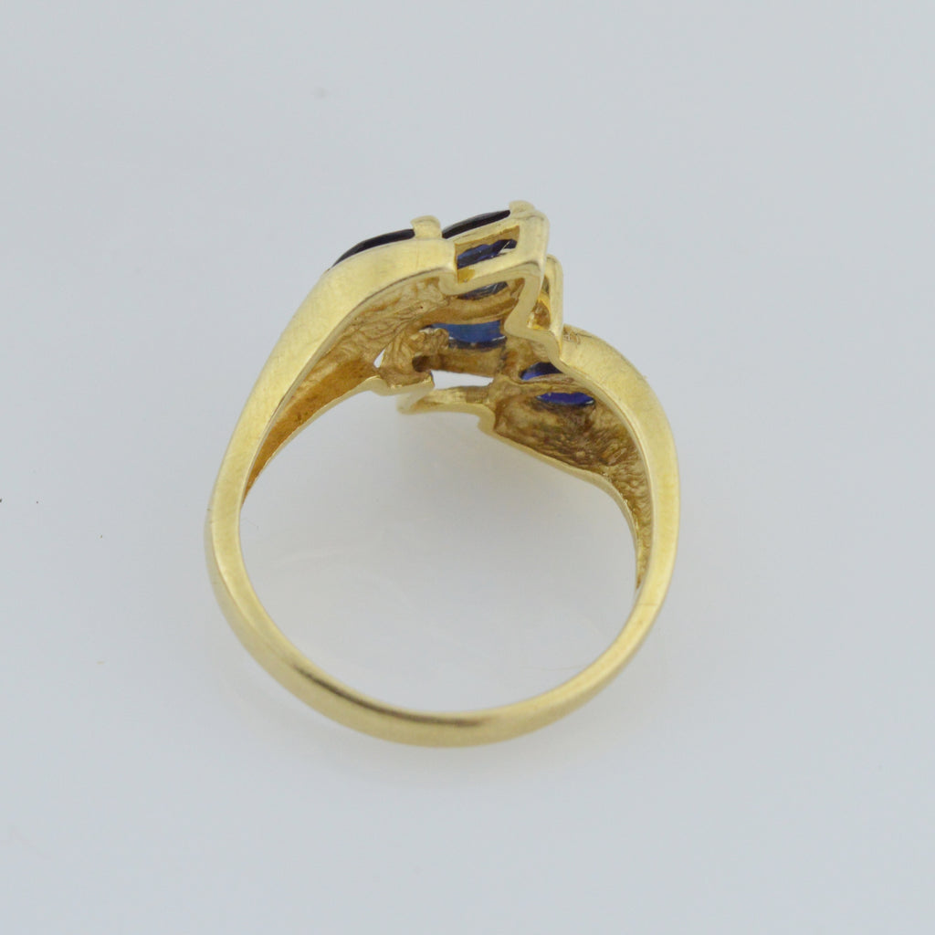 14k Yellow Gold Estate Sapphire Multistone Ring Size 6.25