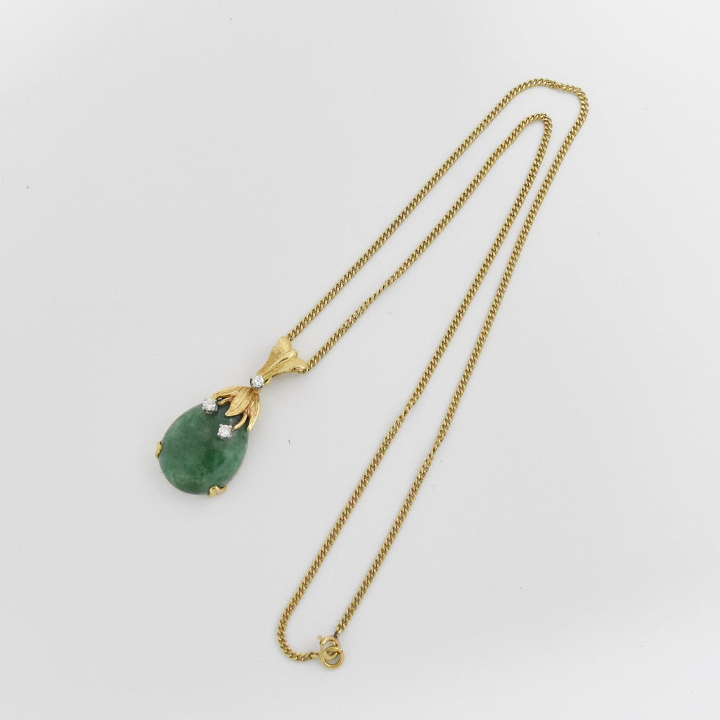"14k YG Vintage 16"" Curb Link Diamond & Jade Drop/Dangle Necklace"