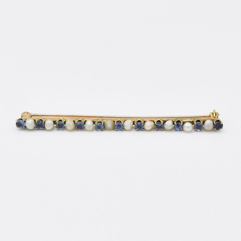 "10k Rose Gold Antique Sapphire & Pearl 2.5"" Bar Pin"