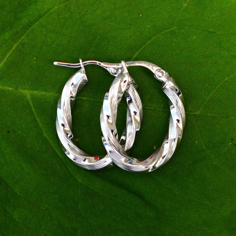 "18k White Gold Estate Twisted Hoops/Hoop Earrings 1"" Tall"