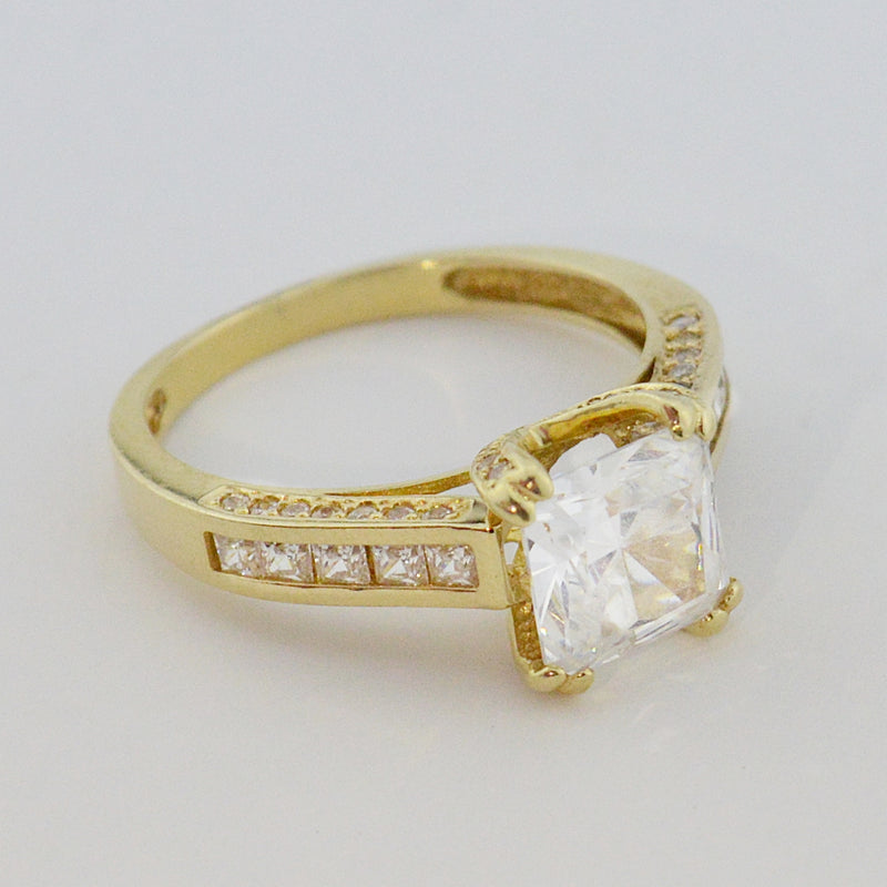 14k Yellow Gold Estate CZ Fancy Ring Size 9