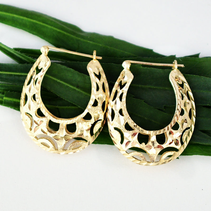 14k Yellow Gold Estate Diamond Cut Filigree Hoops/Hoop Earrings 1 1/4""