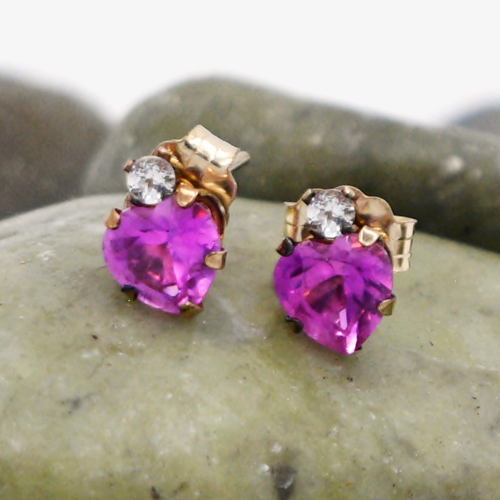 10k Yellow Gold Estate Ruby & Quartz Heart/Love Post Earrings