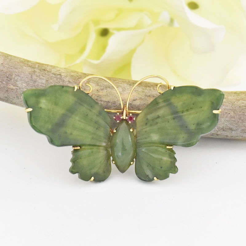 14k Yellow Gold Estate Carved Jade & Ruby Butterfly Brooch/Pin