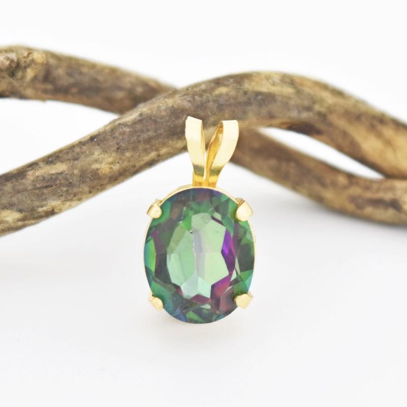 14k Yellow Gold Estate Oval Mystic Topaz Pendant