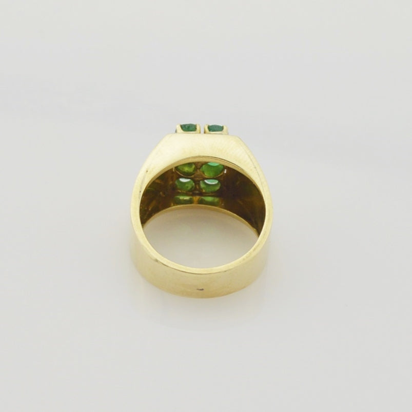 14k Yellow Gold Estate 6/Six Emerald Gemstone Ring Size 5.5