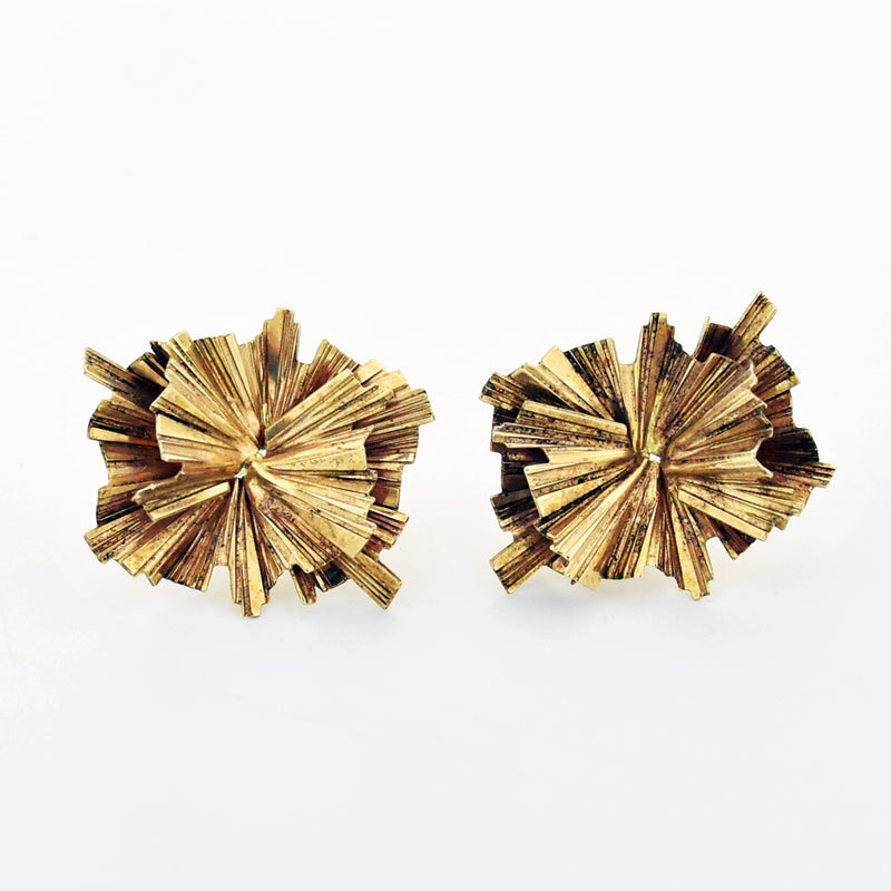 14k Yellow Gold Estate Abstract Retro Style Post Earrings