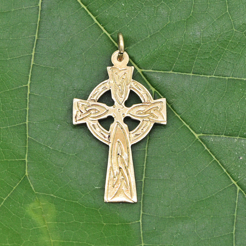 9k Yellow Gold Ornate Antique Celtic Cross Pendant