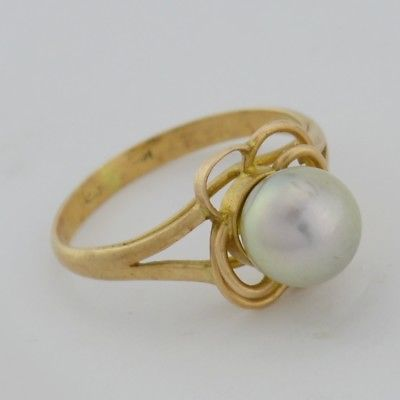 14k Yellow Gold Estate 7.3 mm Grey Pearl Ring Size 5.75