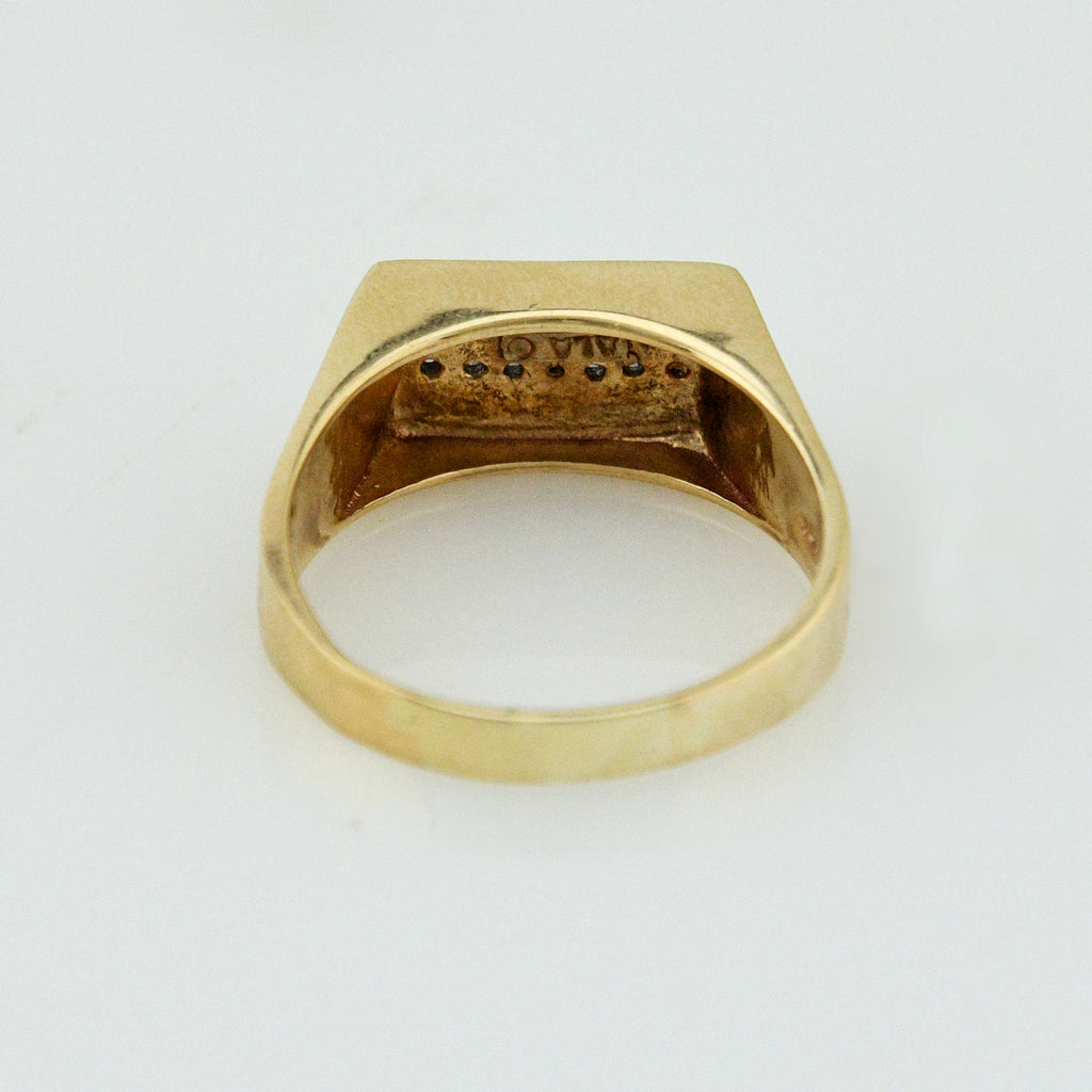 10k Yellow Gold Estate Ribbed 7 Diamond Band/Ring Size 12.5