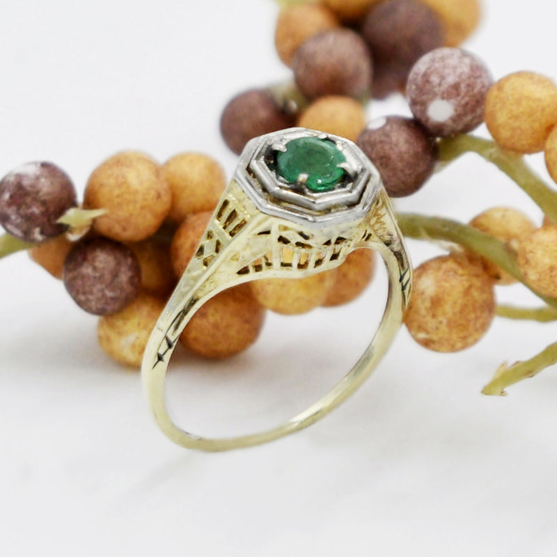 14k Yellow & White Gold Antique Deco Filigree Emerald Ring Size 6