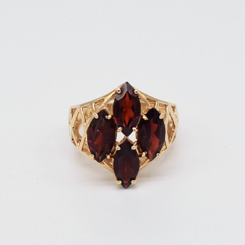 14k YG Open Band Garnet Cocktail Ring Size 7
