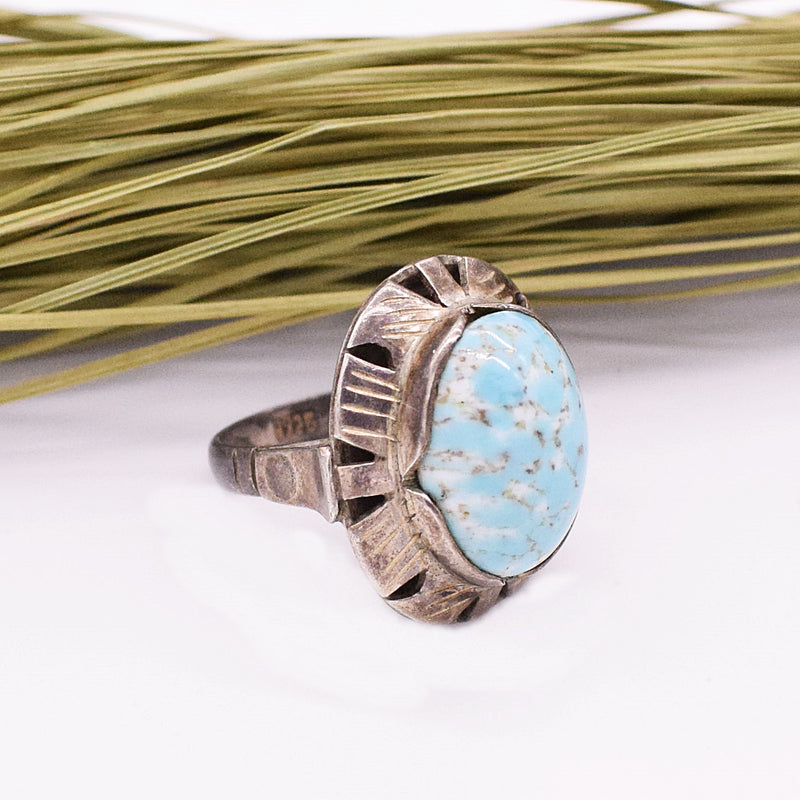 Sterling Silver Cabochon Robin Egg Blue Turquoise Ring 6.25