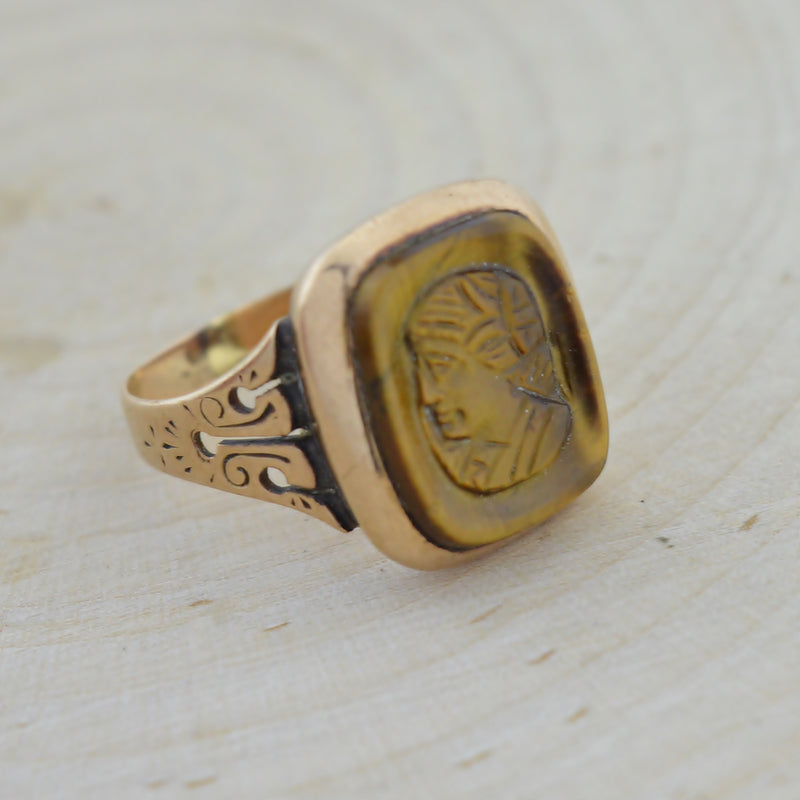 10k Yellow Gold Vintage Intaglio Statement Ring Size 4.5
