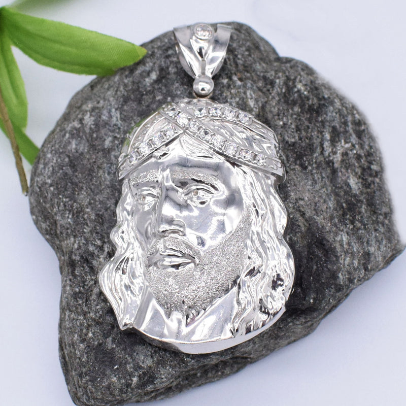 10k WG Large Carved CZ Jesus Face Pendant