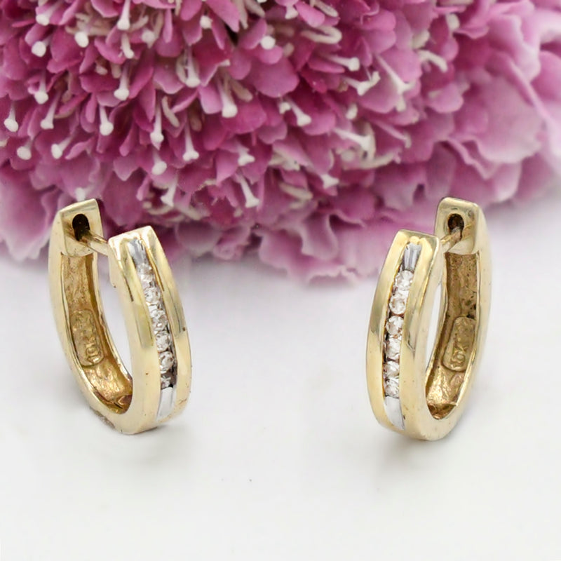 10k Yellow Gold Estate Channel 06 tcw Diamond Huggies/Huggie Earrings