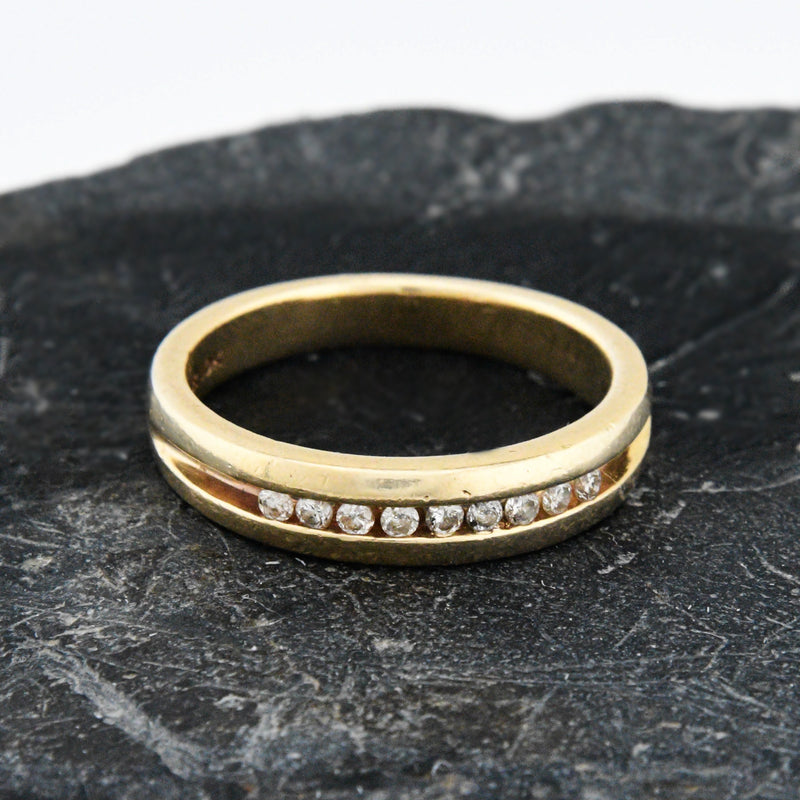10k Yellow Gold Estate Channel Setting Diamond Band/Ring Size 10.75