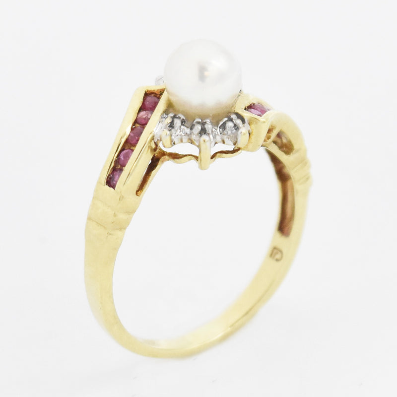 10k Yellow Gold Estate Ruby, Pearl & Diamond Swirl Ring Size 6