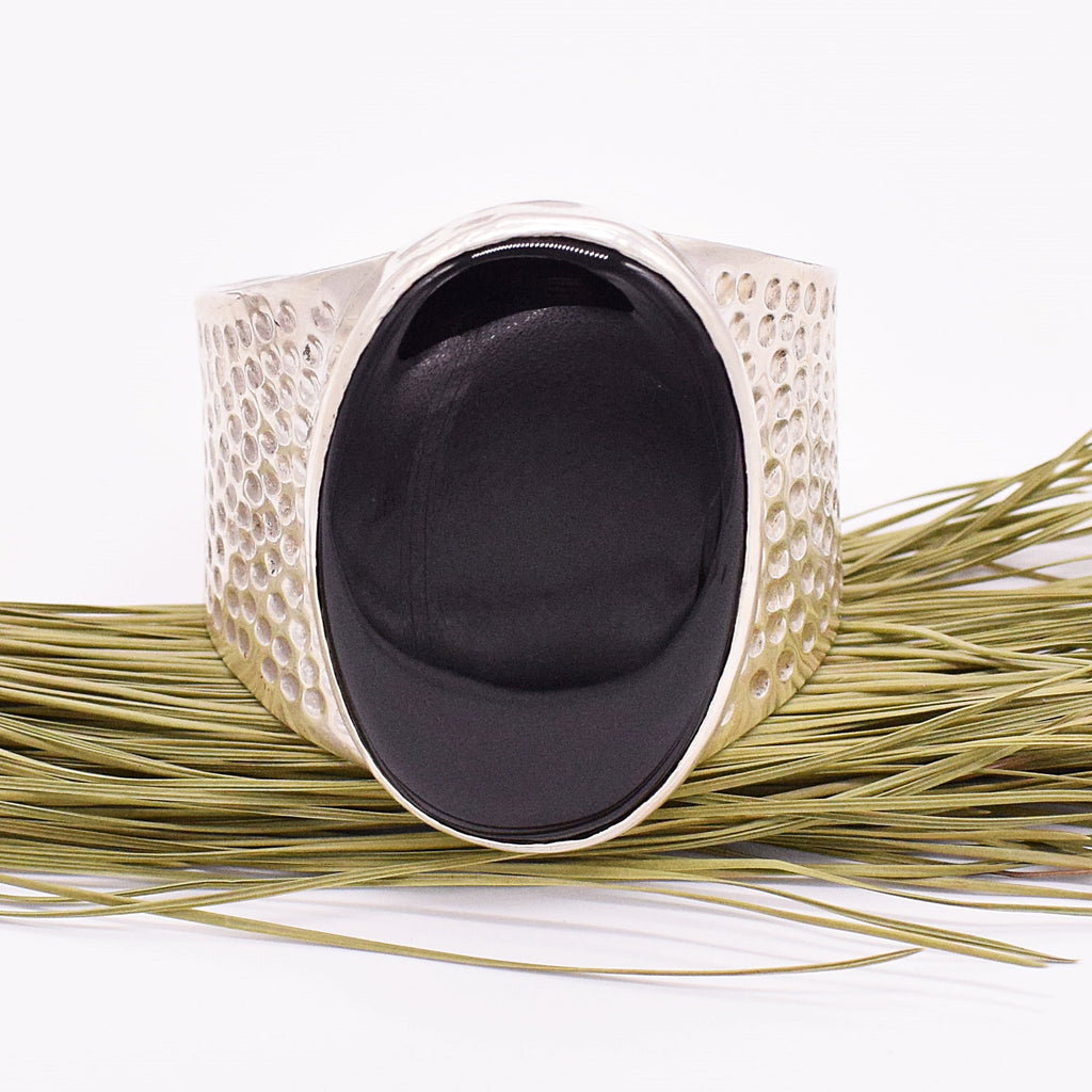 Sterling Silver 925 Hammered Black Onyx Heavy Cuff Bracelet
