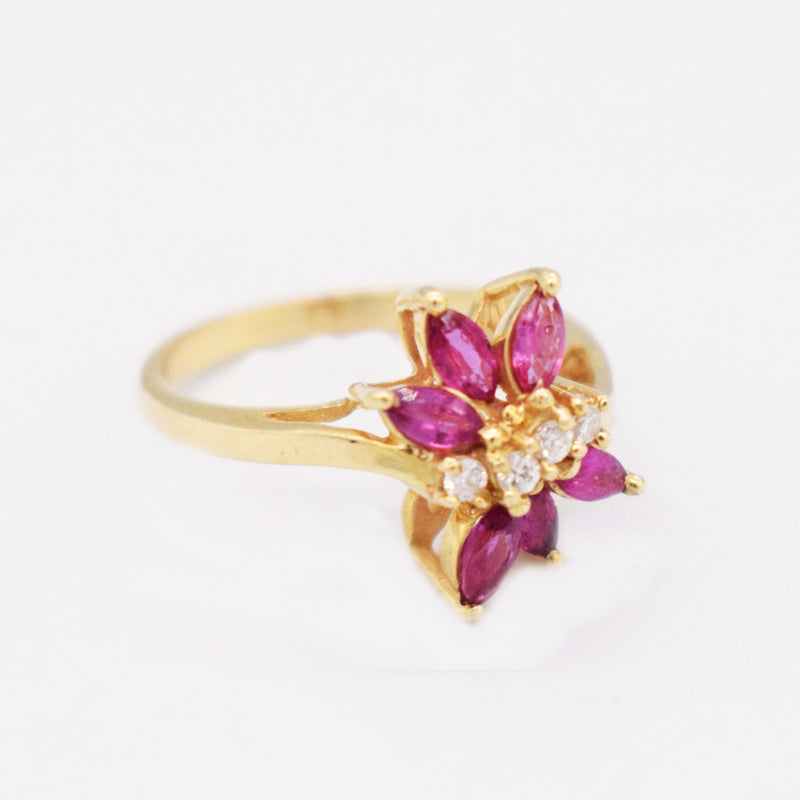 14k YG Open Work Diamond & Ruby Ring Size 6