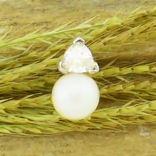 10k Yellow Gold Estate Pearl & White Gemstone Pendant