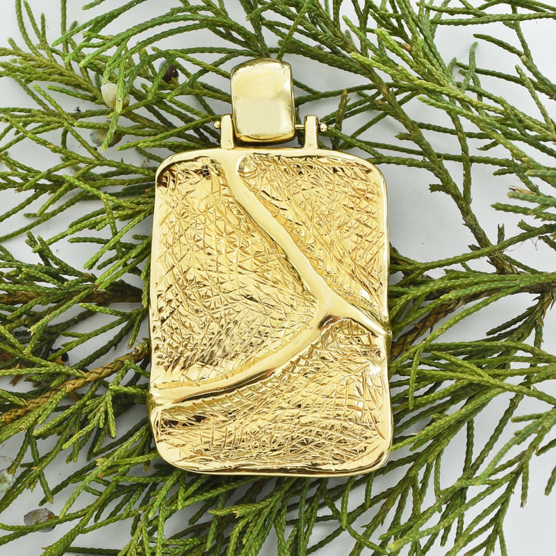 14k Yellow Gold Estate Textured Abstract Pendant