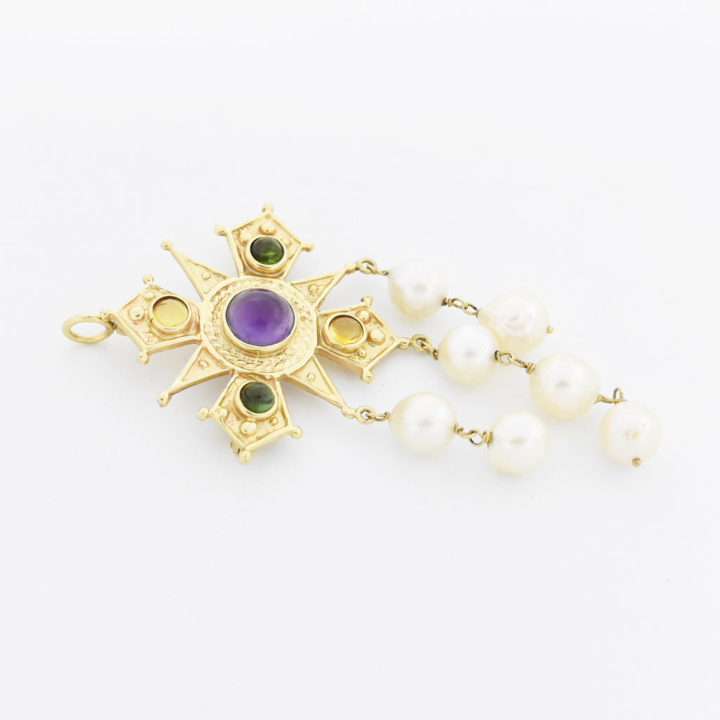 14k YG Cabochon Multi Gemstone Pearl Coat Of Arms & Shield Pin/Pendant