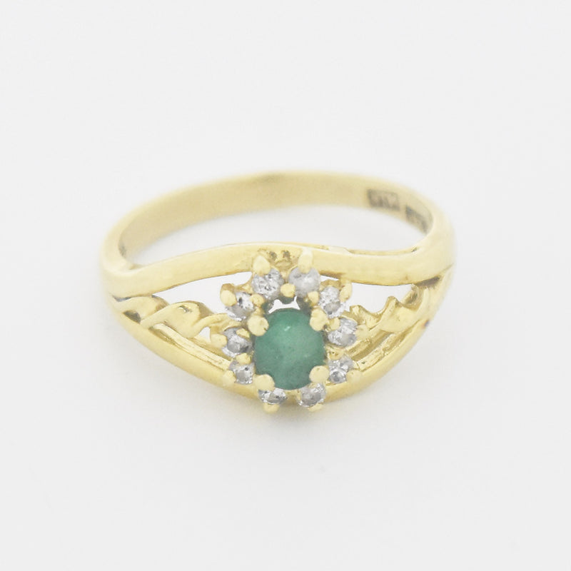 14k Yellow Gold Estate Open Work Emerald & Diamond Ring Size 6