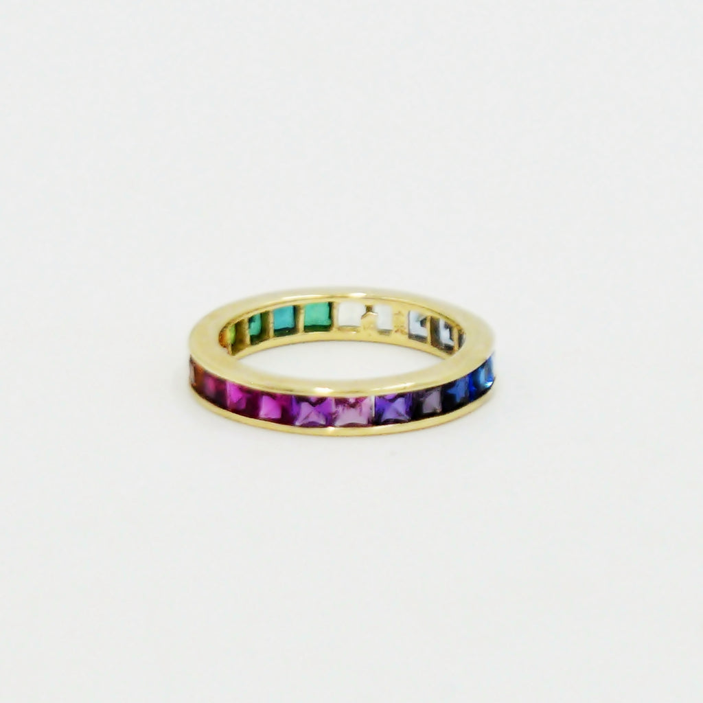 14k Yellow Gold Channel Set Eternity Rainbow Gemstone Ring Size 9.25