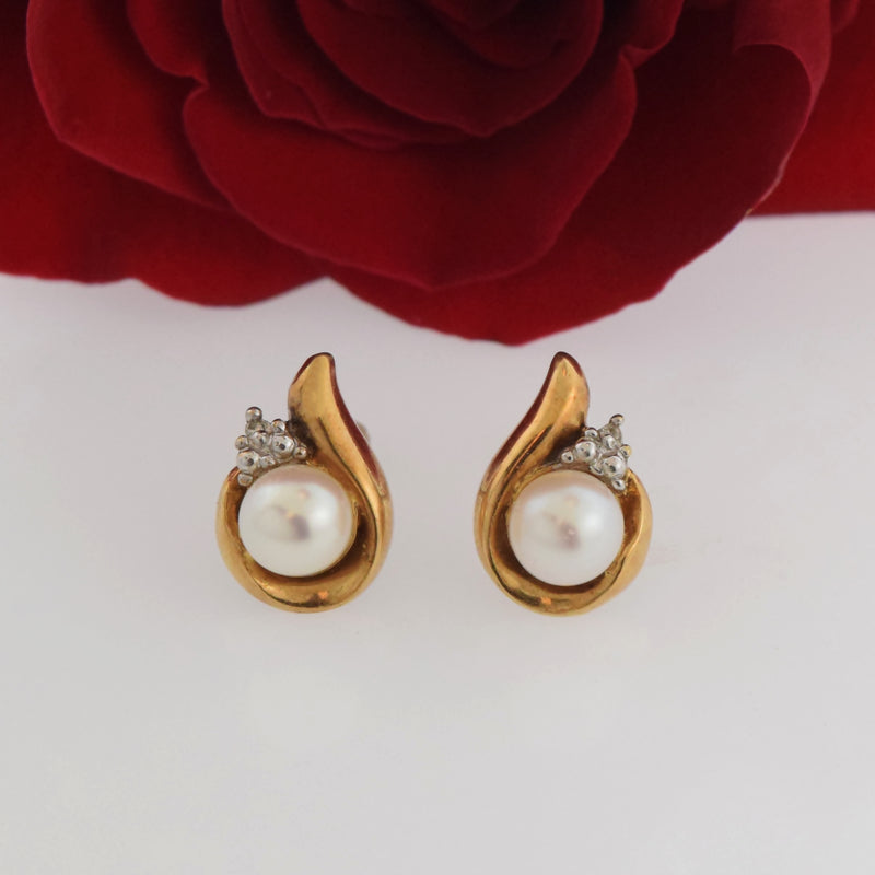10k Yellow Gold Estate Pearl & Diamond Post Earrings
