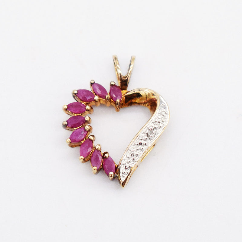 Sterling Silver 925 Estate Ruby & Diamond Open Heart Pendant