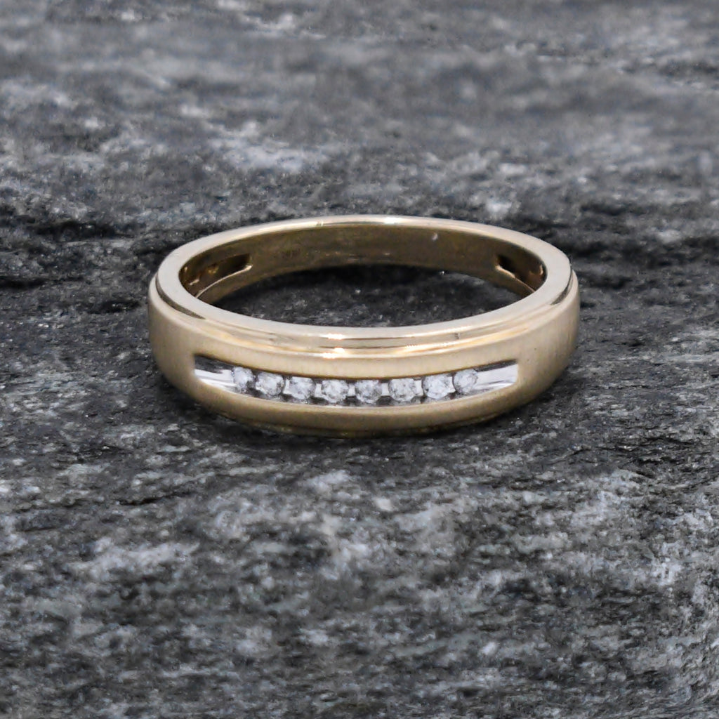 10k Yellow Gold Estate Chanel Set Diamond Band/Ring Size 10.25