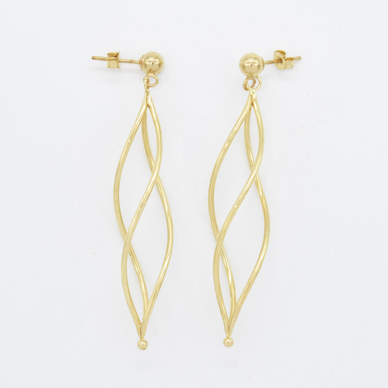 "14k Yellow Gold Estate Open Twisted 2"" Dangle/Drop Earrings"