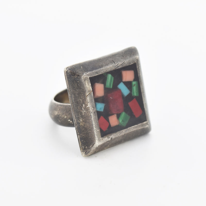 Sterling Silver Vintage Multi Colored Stones Square Ring Size 10