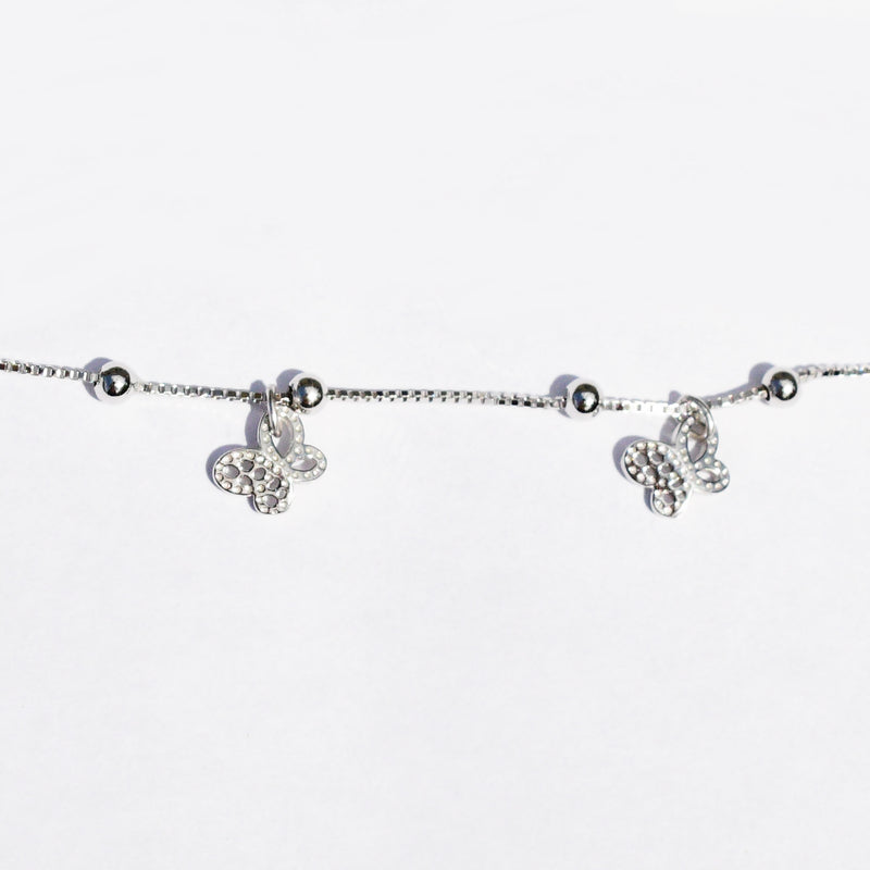 New Sterling Silver 925 Dangle Butterfly Animal Anklet/Ankle Bracelet