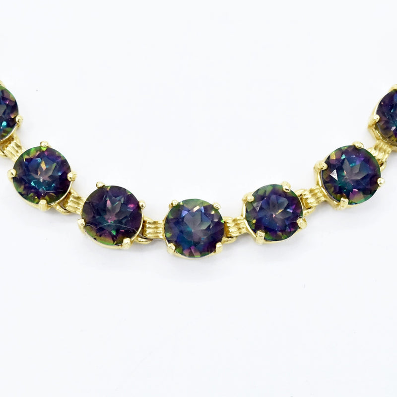 "14k Yellow Gold Estate 7.25"" Mystic Topaz Link Bracelet"