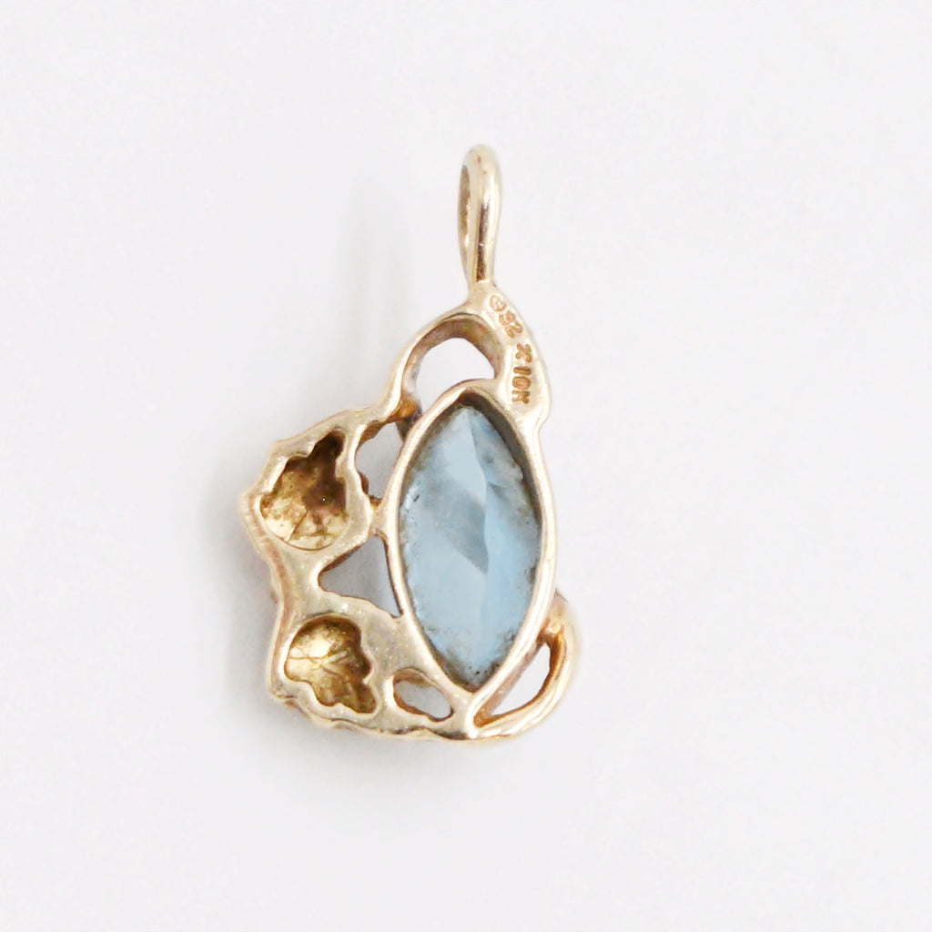 10k Yellow Gold Estate Leaf Swirl Blue Topaz Gemstone Pendant