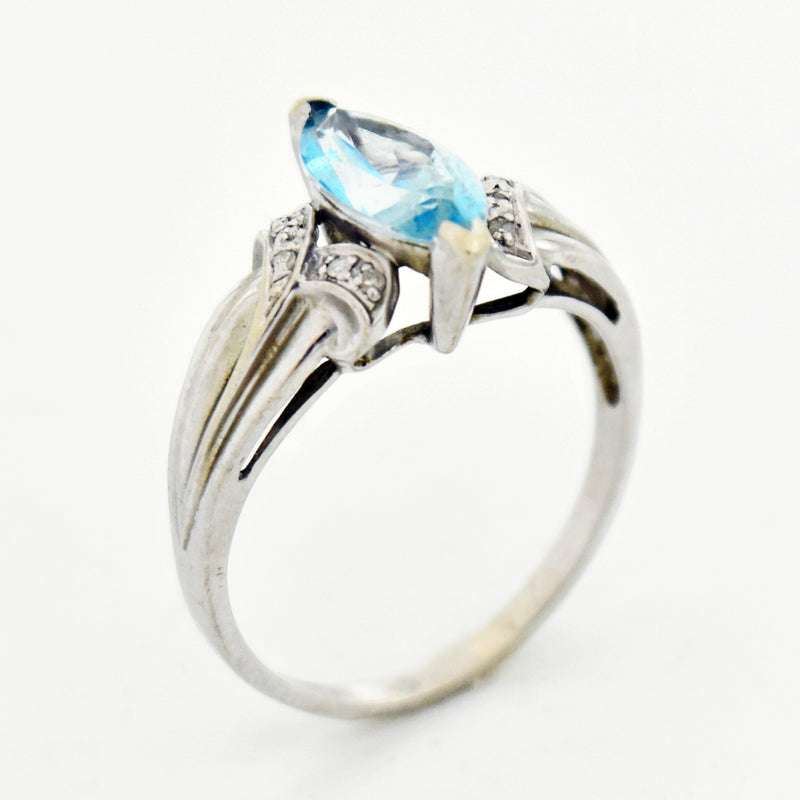 10k White Gold Estate Blue Topaz & Diamond Ring Size 10