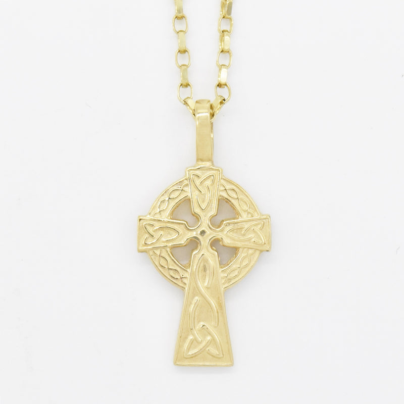 "10k Yellow Gold Estate 18.25"" Celtic Cross Necklace"