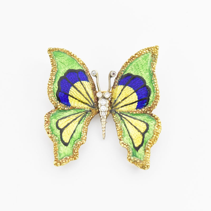 18k Yellow & White Gold Vintage Enamel Diamond Butterfly Brooch/Pin