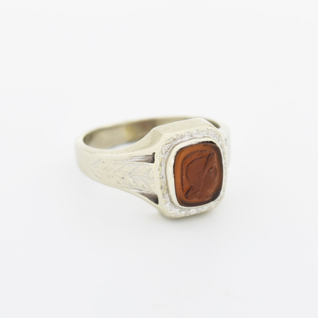 14k White Gold Antique Carnelian Cameo Roman Soldier Ring Size 6.75